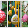 Colored Easter Eggs hanging on ribbons. Collage of three photo — Stock Photo #40853681