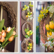 Easter wreath. Spring decoration on the wooden door of the house — Stock Photo #40853697