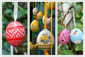 Colored Easter Eggs hanging on ribbons. Collage of three photo — Stock Photo