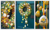 Easter wreath. Spring decoration on the wooden door of the house — Stock Photo