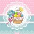 Easter vintage card with basket and eggs — Stock Vector