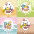 Set easter vintage cards with basket with eggs and flowers — Stock Vector #41179727