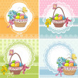 Set easter vintage cards with basket with eggs and flowers — Stock Vector #41179735