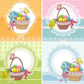 Set easter vintage cards with basket with eggs and flowers — Stock Vector
