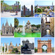 Collage of landmarks of Barcelona, Spain: Triumph Arch, National Museum, PlacEspanya, Park Guell, PlazReal, Parc Ciutadella, Barri Gotic - Bridge Carrer del Bisbe, Cathedral Holy Cross St. Eulalia — Stock Photo #41222665