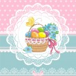 Happy easter vintage cards with colorful easter eggs in basket. — Stock Vector #41251187