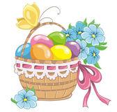 Szczęśliwy kartka wielkanocna. kolorowych pisanek w koszyku na białym tle. ilustracja wektorowa — Wektor stockowy