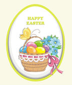 Happy easter vintage cards with colorful easter eggs in basket. — Stock Vector