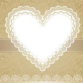 Valentinstag oder Hochzeit lacy Herz isoliert auf weißem Hintergrund. Vektor-Grußkarte — Stockvektor