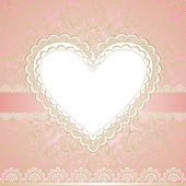 Valentine's day or wedding lacy heart isolated on white background. Vector greeting card — Stockvector