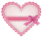 Valentine's day or wedding lacy heart isolated on white background. Vector greeting card — 图库矢量图片