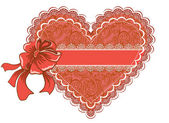 Valentine's day or wedding lacy heart isolated on white background. Vector greeting card — Stok Vektör