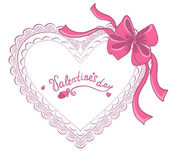 Valentine's day lacy heart isolated on white background. Vector  — Stockvektor