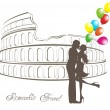 Stock Vector: Honeymoon and Romantic Travel. Happy young lovers couple kissing in front of Colosseum in Rome, Italy