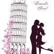 Stock Vector: Honeymoon and Romantic Travel. Happy young lovers couple kissing in front of Pisleaning tower, Italy