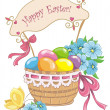Happy easter vintage card. Colorful easter eggs in basket isolated on a white. Vector illustration — Stock Vector #41290513