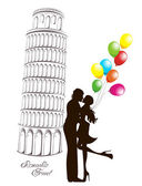 Honeymoon and Romantic Travel. Happy young lovers couple kissing in front of Pisa leaning tower, Italy — Cтоковый вектор