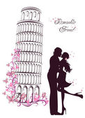 Honeymoon and Romantic Travel. Happy young lovers couple kissing in front of Pisa leaning tower, Italy — Stock vektor