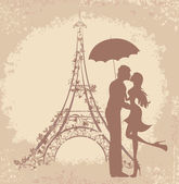 Honeymoon and Romantic Travel. Happy young lovers couple kissing in front of Eiffel Tower, Paris, France. — Stockvector