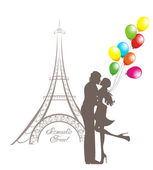 Honeymoon and Romantic Travel. Happy young lovers couple kissing in front of Eiffel Tower, Paris, France. — Stock vektor