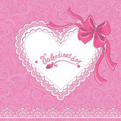 Vintage Valentines day card with lace heart — Stock Vector