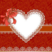 Vintage Valentines day card with lace heart — Stockvektor