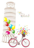 Ciao Italia text with Pisa leaning tower and bicycle. Romantic postcard from Italy. Vector illustration. — Stock Vector
