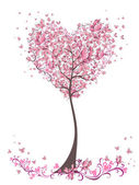 Tree of love with leaves from heart shape. Weddings or Valentine's day idea for your design — Vettoriale Stock
