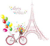 Bonjour Paris text with eiffel tower and bicycle. Romantic postcard from Paris. Vector illustration. — Stock Vector