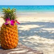 Tropical exotic pineapple cocktail at the beach overlooking the white sandy beach and blue sea — Stok fotoğraf