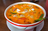Tom Yum Soup, Thai Food.  Tom Yam - Spicy clear soup typical in Thailand. — Stock Photo