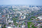 Bangkok Cityscape Expressway and Highway top view. Aerial view on Panorama of Bangkok, Thailand — Stock Photo