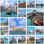 Collage of landmarks in Venice, Italy. — Stock Photo
