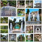 Collage image of Villa d'Este in Tivoli, near Rome, Italy — Stock Photo