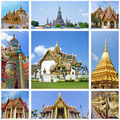 Collage of landmarks of Bangkok, Thailand. Temples of Bangkok — Stock Photo