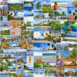 Collage of travel images from Thailand (my photos). Buddhist temples, exotic islands, tropical beaches with white sand and palm trees and a traditional Thai cuisine. Nature and travel background — Stock Photo