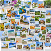 Stack of travel images from Thailand (my photos). Buddhist temples, exotic islands, tropical beaches with white sand and palm trees and a traditional Thai cuisine. Nature and travel background — Stock Photo