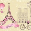 Paris symbols and landmarks. Romantic postcard from Paris. Vector set — Stock Vector #50137773