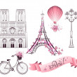 Paris symbols and landmarks. Vector set — Vettoriale Stock  #50137795