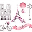 Paris symbols and landmarks. Vector set — Stockvektor