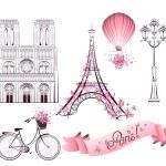 Paris symbols and landmarks. Vector set — Stock vektor