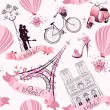 Paris symbols seamless pattern. Romantic travel in Paris. Vector — Stock Vector #50138019