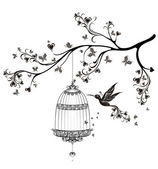 Birds out of cages. Spring birds flying on the branch. Vector illustration — Stock Vector