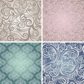 Collection Seamless floral pattern. Vintage background — Stok Vektör