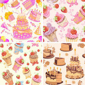 Set Happy birthday seamless pattern.  — Stok Vektör