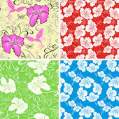 Seamless hibiscus flower background . Collection Hawaiian patterns — Stock Vector