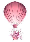 Vintage hot air balloon in sky. Greeting card. Vector illustration. — Stock Vector
