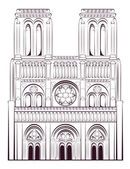 Notre Dame de Paris Cathedral in France. French travel landmark. — Stock Vector
