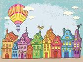 复古卡与城市景观。老城区的彩色复古的房屋和热气球在城市上空。卡通矢量手绘. — 图库矢量图片