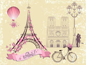 Paris symbols and landmarks. Romantic postcard from Paris. Vector set — Vecteur